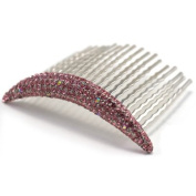 DoubleAccent Hair Jewellery Simple Floating Swarovski Crystal Hair Comb Pink Colour
