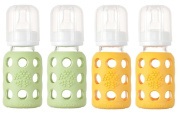 Lifefactory Glass Baby Bottles 4 Pack (120ml in Boy Colours) - Green/Yellow