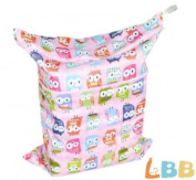 LBB(TM) Solid Baby Wet and Dry Cloth Nappy Bag,Pink Owl