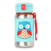 Skip Hop Zoo Stainless Steel Straw Bottle, Owl