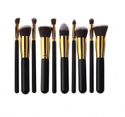 HOSL 10PCS Premium Synthetic Hair Makeup Brush Set Cosmetics Foundation Blending Blush Face Powder Brush Makeup Brush Kit