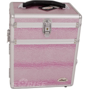 SUNRISE Jewellery Storage Organiser Case C3010 2 in 1 Travel Box, Trays and Drawer, Locking with Mirror, Pink Snake