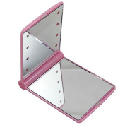 FOONEE 8 LED Light Cosmetic Make Up Compact Portable Folding Fold Mirror,Pink