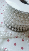 8mm Faux Pearl Plastic Beads Garland on a String Craft Roll White 8 yards