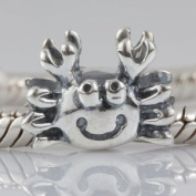 Hoobeads Crab Charm Beads Solid 925 Sterling Silver Snowflake Charms Fits Pandora European Charms Bracelet