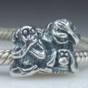 Hoobeads Antique Chimp Family Sterling Silver Snowflake Charms Fits Pandora European Charms Bracelet