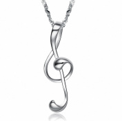 megko Bling Crystal Rhinestone Music Note Pendant Necklace for Girls with Silver Chains