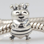 Hoobeads Smile Happy Queen Bee Authentic 925 Sterling Silver Bead Charms Fits Pandora Chamilia Biagi Troll Charms Europen Style Bracelets