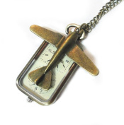 Let's Go Travel Pocket Watch Necklace - Retro Bronze Travel Dual Time Pocketwatch Charm - Plane Pendant