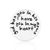 Floating Plate Charm for Glass Locket-God Has You in His Arms I Have You in My heart