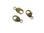 Qty 20 Pieces B83142 Carved Lobster Clasps Ancient Antique Bronze Fashion Jewellery Making Crafting Charms Findings Bulk for Bracelet Necklace Pendant