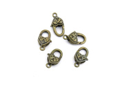 Qty 10 Pieces B93054 Heart Lobster Clasps Ancient Antique Bronze Fashion Jewellery Making Crafting Charms Findings Bulk for Bracelet Necklace Pendant