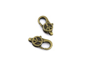 Qty 150 Pieces B31597 Peace Symbol Lobster Clasps Ancient Antique Bronze Fashion Jewellery Making Crafting Charms Findings Bulk for Bracelet Necklace Pendant