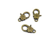 Qty 10 Pieces B26370 Plum Lobster Clasps Ancient Antique Bronze Fashion Jewellery Making Crafting Charms Findings Bulk for Bracelet Necklace Pendant