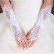 Top-ishop New White Lace Floral Bride Applique Wedding Gloves