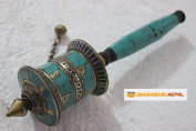 Buddhist Coper & Stone Set Hand-held Prayer Wheel - 23cm with Authentic Wooden Handle