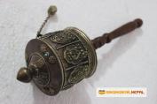 Tibetan Buddhist Om Mani Handmade Copper Hand Prayer Wheel - Very Artistic Auspicious 8 Lucky Symbols