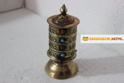 17cm Table Top Copper Brass Tibetan Buddhist Om Mani Padme Hum Prayer Wheel Hand Crafted in Nepal