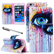 For iPhone 6 (12cm ), Urvoix(TM) Oil Painting Eye Wallet Leather Case Cover [Picture w/ Card Holder] [Magnetic Stand] for 12cm iPhone 6