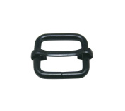 Tianbang Black 2cm Inside Length Rectangular Buckle with Sliding Bar for Loose Ring Pack 15