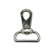 Tianbang Silvery 2.5cm Inside Diameter D Ring Lobster Clasp Claw Swivel for Strap Pack of 10