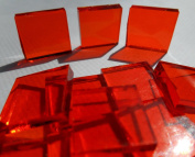 FortySevenGems 50 Pieces Stained Glass Mosaic Tiles 2.5cm Orange Cathedral Glass