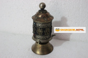 Table Top Copper Brass Tibetan Buddhist 8 Lucky Symbols Prayer Wheel Hand Crafted in Nepal