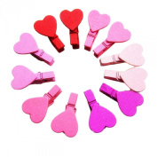 Susenstone®12Pcs Mini Heart Love Wooden Clothes Photo Paper Peg Pin Clothespin