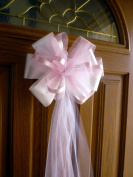 Large Pre-made White and Azalea Pink Wedding Pew Bows - 25cm Wide, Set of 6