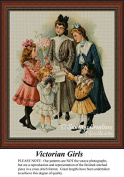 Victorian Girls, Vintage Cross Stitch Pattern