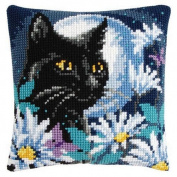 Vervaco Cat in the Moonlight Pillow Cover Needlepoint Kit