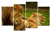 SmartWallArt@ -4 Piece Wall Art Painting Happy Lion Family On The Steppes Enjoy The Happy Time Picture On Canvas Stretched By Wooden frames-For Home Modern Living Room Decor Hang Up Fairly Easily