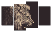 SmartWallArt@ -4 Piece Wall Art Painting A Ferocious Lion Crack And Roar Staring Into The Distance Picture On Canvas Stretched By Wooden frames-For Home Modern Living Room Decor Hang Up Fairly Easily