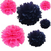 Joinwin® 12PCS Mixed Sizes Hot Pink & Black Tissue Paper Flower Pom Poms Pompoms Wedding Birthday Party Decoration