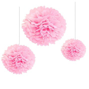Joinwin® 12PCS Mixed Sizes Pink Tissue Paper Flower Pom Poms Pompoms Wedding Birthday Party Nursery Decoration