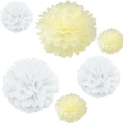 Joinwin® 12PCS Mixed Sizes White Ivory Tissue Paper Flower Pom Poms Pompoms Wedding Birthday Party Nursery Decoration