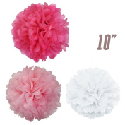 WOM-HOPE® 15 Pack - 25cm Tissue Paper Pom Pom Flower Ball Pom-poms - Wedding Party Supplies Decorations Birthday Parties and Baby Showers Party Decorations Party Tissue Pom Poms
