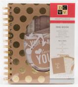 DCWV Mini Book KRAFT & GOLD 19 Pages 20 Cutouts 2 Sticker Sheets 13cm x 18cm