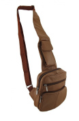 Brown Genuine Leather Cross Body Purse w/Cell Pouch