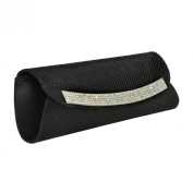 Satin Black Clutch Dazzling Clear Rhinestone Detail Chain Black Evening Baguette