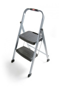 Rubbermaid RM-2W Folding 2-Step Steel Frame Stool with Hand Grip and Plastic Steps, 90kg Capacity, Silver Finish
