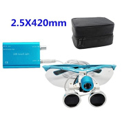 icarekit 2.5X 420mm Blue Dental Surgical Medical Binocular Loupes + LED Head Light Lamp +Carry Bag