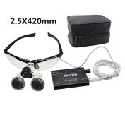 icarekit 2.5X 420mm Black Dental Surgical Medical Binocular Loupes + LED Head Light Lamp + Carry Bag