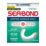 Sea-Bond Denture Adhesive Thin, Soft Adhesive Wafers- Lowers, Fresh Mint 30 ct