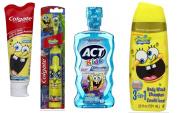 "Colgate Kids SpongeBob Squarepants Powered Toothbrush, Soft Bristles + Colgate Anticavity Fluoride Toothpaste Sponge Bob Squarepants, 140ml Tube + ACT Anti-Cavity ""Sponge Bob"" Rinse for Kids, 16.9-Fluid Ounces Mouthwash Bottle + Spongebob 3 In 1 Shamp .."