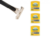 Shave Classic Single Edge Razor Handle with Schick Injector Refill Blades 7 Ct. (Pack of 3) ! Razor Compatible with Schick Injector Razor Blades !