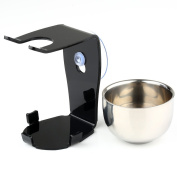 VERY100 Shaving Brush Stand Holder with Strong Suction Cup & Stainless Steel Shave Bowl Mug