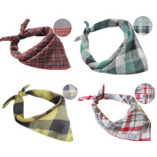 (Unisex 4-Pack)Bandana Bib Drool Bibs Cotton Triangle Bibs Muslin Perfect Baby Gifts for Boys & Girls