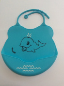 Baby Bib Home Or Travel Soft Light Silicone Waterproof Keep Baby Clothes Dry Easy Clean Feeding Bibs Wide Pocket To Catch Food For Boys Girls Best Baby Gifts Shower Idea Gift Cute Cool Unique Design Fun Whale
