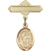 Gold Filled Baby Badge with St. Joseph the Worker Charm and Polished Badge Pin 2.5cm X 1.6cm